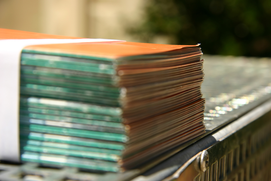 Bound leaflets at a printer
