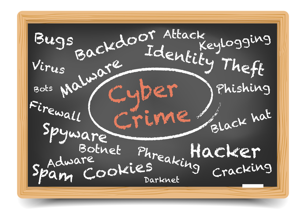 """detailed illustration of a """"Cyber Crime"""" wordcloud on a blackboa"""